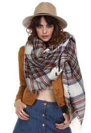 Oversized Tartan Plaid Blanket Scarf with Frayed Edges-Blue Burgundy & Off White