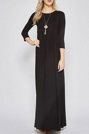 Solid Jersey Long 3/4 Sleeve Ruched Maxi Dress-Black
