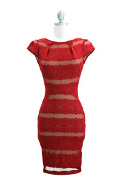 Audrey Hepburn Inspired Cap Sleeve Lace Mini Dress-Red
