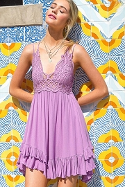 Boho Crochet Lace Double Strap Bralette Slip Dress-Lavendar Purple