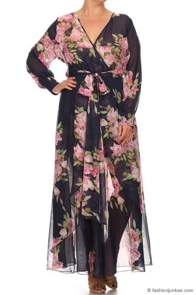 Plus Size Chiffon Maxi Dress with Sleeves