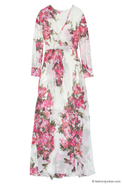 Long Sleeve Floral Chiffon Maxi Dress-Off White   Pink 5c7e3fb49