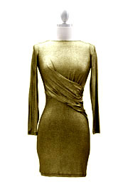 Backless Long Sleeve Cinched Waist Metallic Mini Dress-Gold