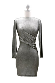 Backless Long Sleeve Cinched Waist Metallic Mini Dress-Silver