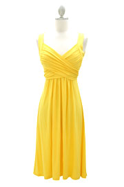 :As Seen In US WEEKLY: Crossover Fauxe Wrap Vintage Inspired Jersey Dress-Yellow
