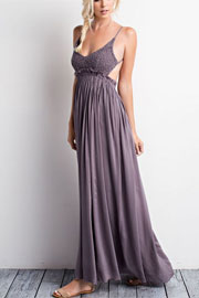 FLASH DEAL: Backless Open Back Crochet Maxi Full Length Bridesmaid Dress-Dark Grey