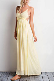 Backless Open Back Crochet Maxi Full Length Bridesmaid Dress-Yellow