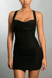 Ruched Sweetheart Mini Dress with Criss Cross Back-Black