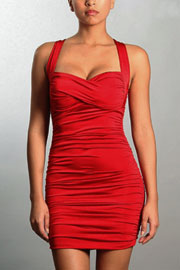 Ruched Sweetheart Mini Dress with Criss Cross Back-Red