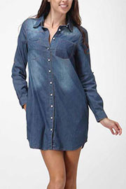 :As Seen In REDBOOK Magazine: Loose Chambray Denim Button Up Shirt Dress with Roll Up Sleeves-Dark Blue