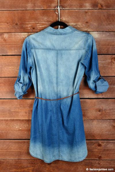 PLUS SIZE Belted Chambray Denim Button Up Shirt Dress-Medium Blue