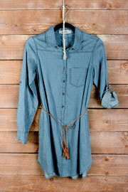 PLUS SIZE Belted Chambray Denim Button Up Shirt Dress-Medium Blue