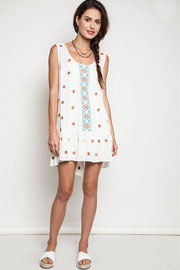 Sleeveless Bohemian Drop Waist Peasant Tunic Shirt Dress-Off White