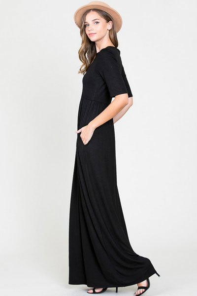 Solid Jersey Elbow Length Sleeve Long Maxi Dress With Pockets Black