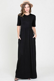 Solid Jersey Elbow Length Sleeve Long Maxi Dress with Pockets-Black