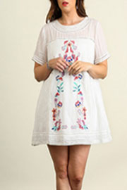 Bohemian Floral Embroidered A-Line  Gauze Tunic Dress-White