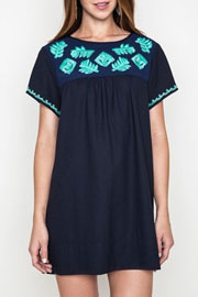 Boho Floral Embroided Shift Shirt Dress-Navy Blue