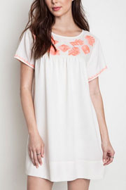 Boho Floral Embroided Shift Shirt Dress-Off White