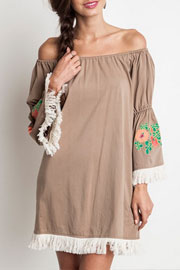 :As Seen In PEOPLE STYLEWATCH Magazine: PLUS SIZE Off the Shoulder Floral Embroidered Fringe Bell Sleeve Dress-Mocha