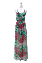 FLASH SALE: Gorgeous Floral Backless Long Maxi Dress-Burgundy, Grey & Green
