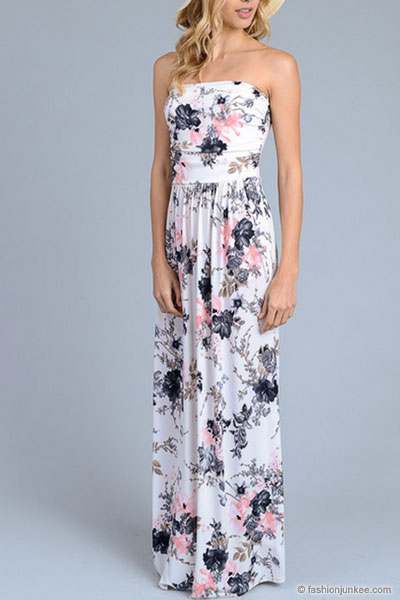 f670b3517f9 Strapless Tube Floral Maxi Dress with Pockets-White