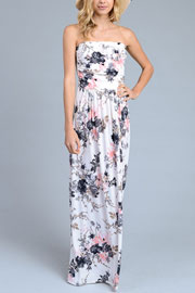 Strapless Tube Floral Maxi Dress with Pockets-White, Black & Pink
