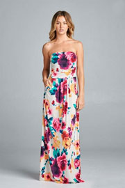Watercolor Strapless Tube Floral Maxi Dress with Pockets-White Multi-Color