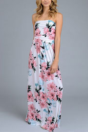 Strapless Tube Floral Maxi Dress with Pockets-White & Pink