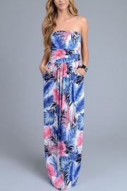 Tropical Strapless Tube Floral Maxi Dress with Pockets-White, Blue & Pink