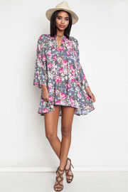 Floral Print 3/4 Sleeve Trapeze Shirt Dress-Grey