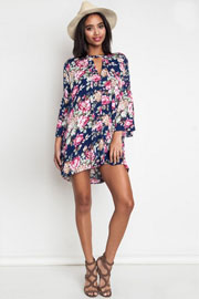 Floral Print 3/4 Sleeve Trapeze Shirt Dress-Navy Blue