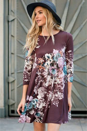 Floral Long Sleeve A-Line Tunic Dress with Pockets-Plum Purple