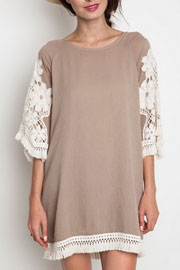 Boho Floral Embroided Sleeve Fringe Shift Dress-Taupe