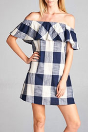 Gingham Off the Shoulder Ruffle Dress-Blue & White