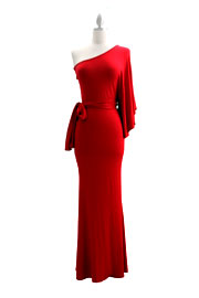 Belted Jersey Long Full Length One Shoulder Kimono Dress-Red