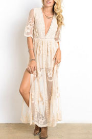 Low Cut Plunging Neckline Sheer Lace Dress-Off White