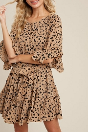 Animal Print Ruffle Sleeve Dress-Taupe Leopard Print