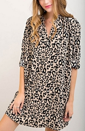 Leopard Print Loose V-Neck Shirt Dress-Taupe
