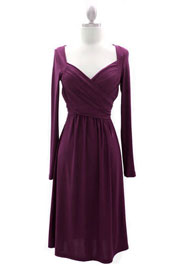 :As Seen On THE VIEW: Long Sleeve Crossover Fauxe Wrap Dress-Purple