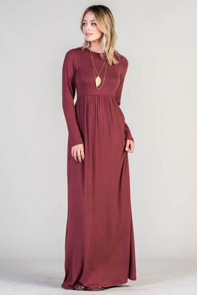 3cdf8d2158c Solid Jersey Long Sleeve Maxi Dress with Hidden Pockets-Burgundy ...