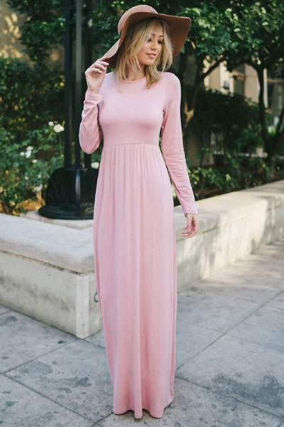 627ccd17d4f Solid Jersey Long Sleeve Maxi Dress with Hidden Pockets-Burgundy ...