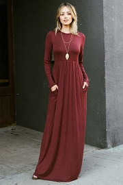 Solid Jersey Long Sleeve Maxi Dress with Hidden Pockets-Burgundy Dark Red