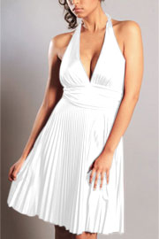 Marilyn Monroe Pleated Low Cut Halter Cocktail Dress-White