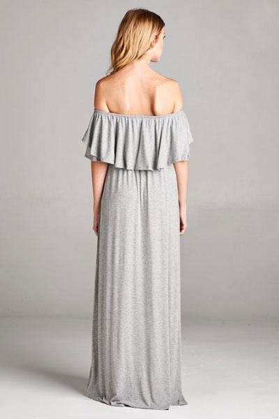 b8f29d80084 Off the Shoulder Flowy Solid Jersey Long Maxi Dress-Heather Grey