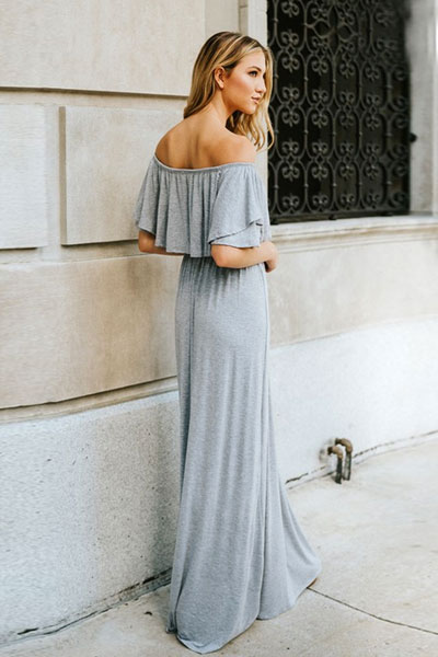 5620103a227f Off the Shoulder Flowy Solid Jersey Long Maxi Dress-Heather Grey