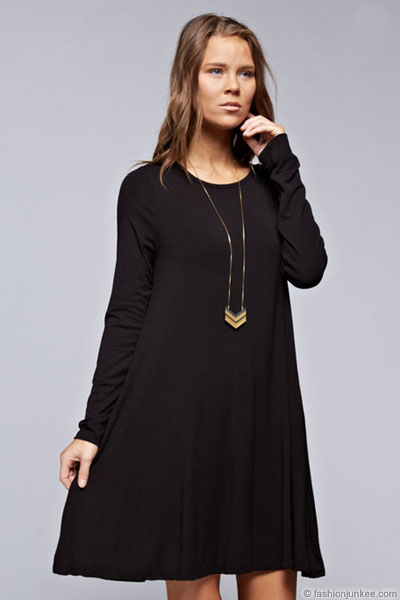 Long Sleeve Jersey A Line Tunic Dress With Pockets Black