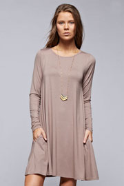Long Sleeve Jersey A-Line Tunic Dress with Pockets-Taupe