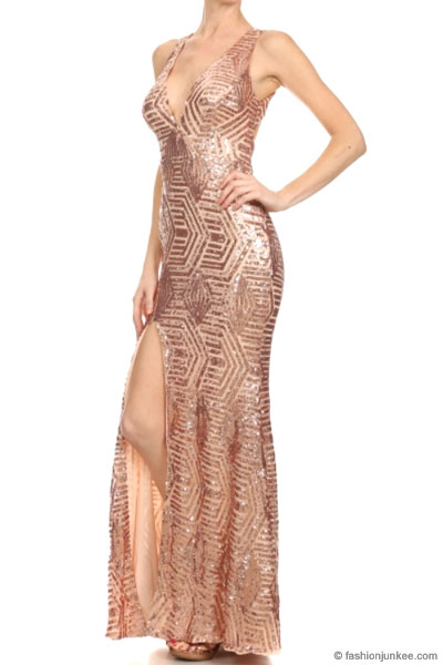FLASH SALE: PLUS SIZE Long Full Length Sequin Mermaid Dress with Plunging  Neckline-Gold Black