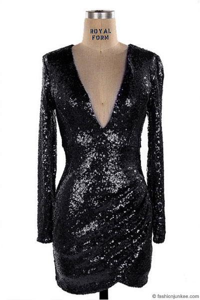 Sequin Long Sleeve Low Cut V Neck Mini Dress Black