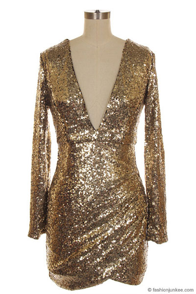 Plus Size Sequin Long Sleeve Low Cut V-Neck Mini Dress-Gold 6a253b889